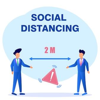 Illustratie vector grafische stripfiguur van sociale afstand