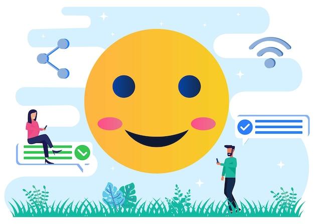 Illustratie vector grafische stripfiguur van sociale media emoji's