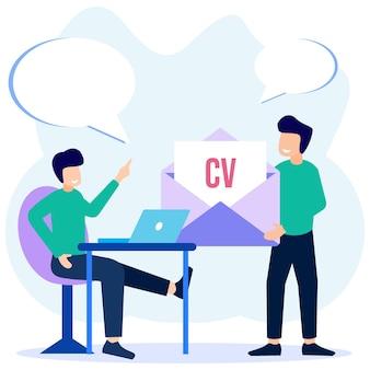 Illustratie vector grafische stripfiguur van sollicitatiegesprek