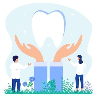 Illustratie vector grafische stripfiguur van tandheelkundige kliniek