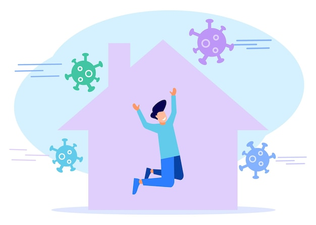 Illustratie vector grafische stripfiguur van thuisblijven