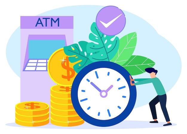 Illustratie vector grafische stripfiguur van tijd is geld