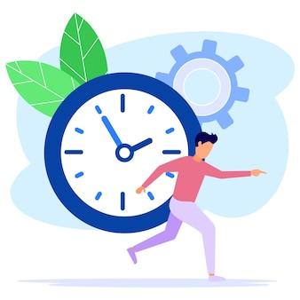 Illustratie vector grafische stripfiguur van time management
