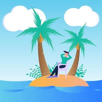 Illustratie vector grafische stripfiguur van vakantie
