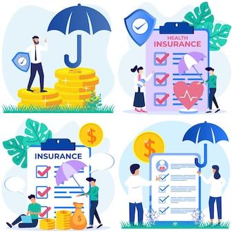 Illustratie vector grafische stripfiguur van verzekering