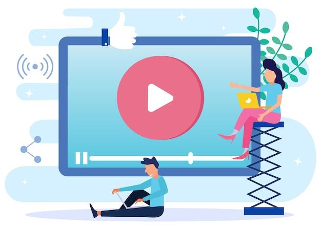 Illustratie vector grafische stripfiguur van video