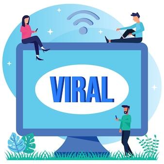 Illustratie vector grafische stripfiguur van viral