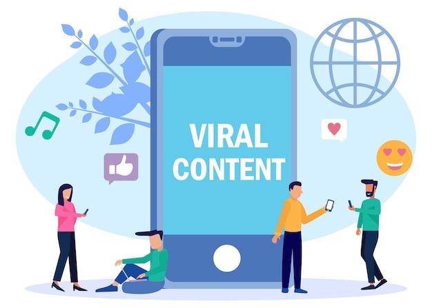 Illustratie vector grafische stripfiguur van virale inhoud