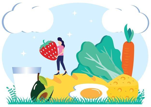 Illustratie vector grafische stripfiguur van voedsel vegetarisch