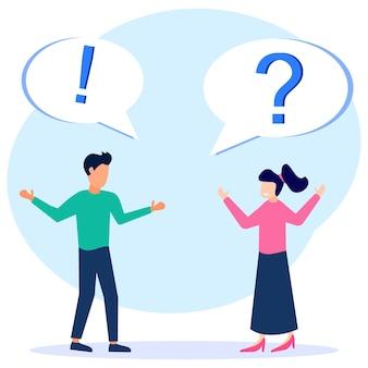 Illustratie vector grafische stripfiguur van vragen en antwoorden