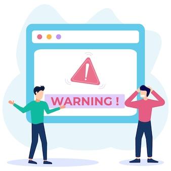 Illustratie vector grafische stripfiguur van waarschuwing