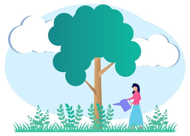 Illustratie vector grafische stripfiguur van wereld milieu dag