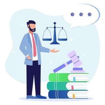 Illustratie vector grafische stripfiguur van wet- en regelgeving