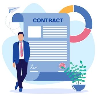 Illustratie vector grafische stripfiguur van zakelijk contract