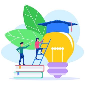 Illustratie vector grafische stripfiguur van zakelijk onderwijs
