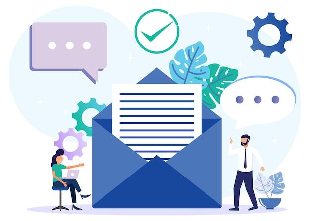 Illustratie vector grafische stripfiguur van zakelijke e-maildiensten