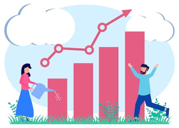 Illustratie vector grafische stripfiguur van zakelijke groei