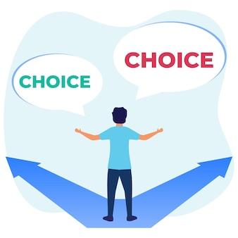 Illustratie vector grafische stripfiguur van zakelijke strategie keuzes en toekomstige keuzes