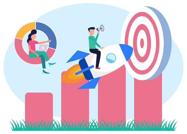 Illustratie vector grafische stripfiguur van zakelijke target