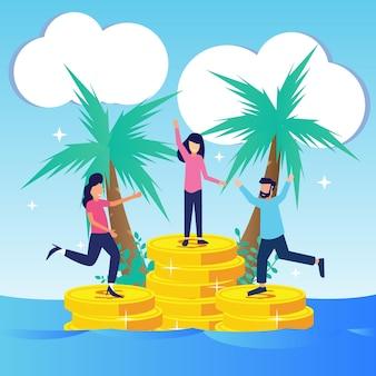 Illustratie vector grafische stripfiguur van zakelijke winst