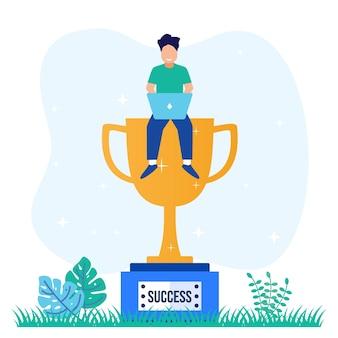 Illustratie vector grafische stripfiguur van zakenman succes