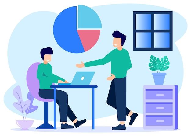 Illustratie vector grafische stripfiguur van zakenpartner
