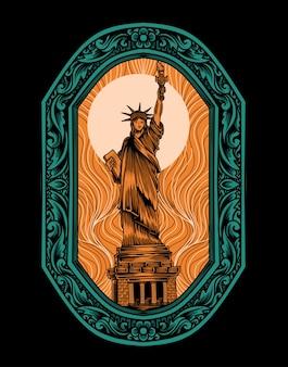 Illustratie vector liberty standbeeld met vintage gravure ornament.