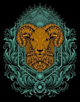 Illustratie vector schapen hoofd met vintage gravure ornament.