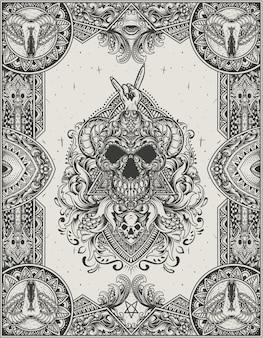Illustratie vector schedel hoofd met antieke gravure ornament stijl
