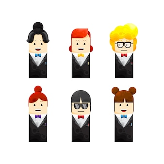 Illustratie vector van schattige verschillende zakenvrouw avatar collecties