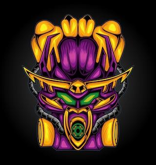 Illustratie vectorafbeelding van cyborg robot ridder esport logo