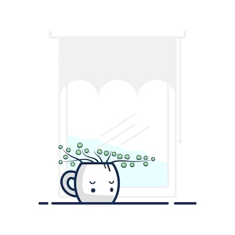 Illustratie vectorafbeelding van grappige bloem plat ontwerp met wit venster