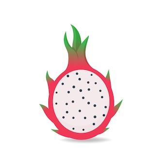 Illustratie vectorafbeelding van half pitaya platte pictogram ontwerp. dragon fruit tekenen geïsoleerd op een witte achtergrond.