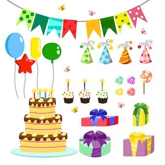 Illustratie verjaardagsfeestje kleurrijke accessoires en decoratie, zoete lekkernijen, taarten, ballonnen, snoepjes, geschenken in cartoon-stijl.