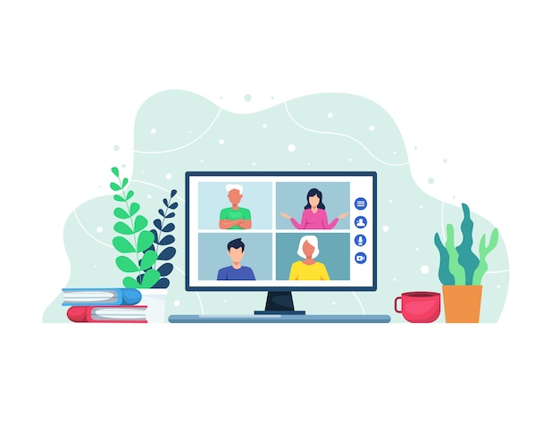 Illustratie videoconferentie concept