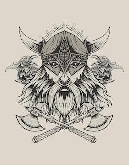Illustratie viking hoofd wit twee kraai vogel zwart-wit stijl
