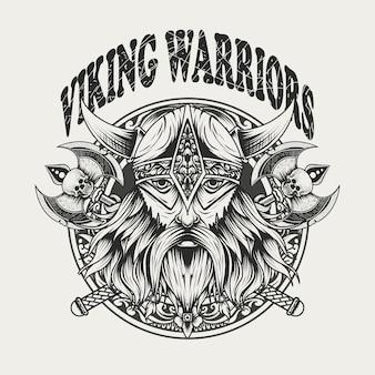 Illustratie viking krijgers hoofd zwart-wit kleur