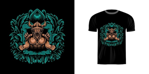 Illustratie viking met gravure ornament voor t-shirt design