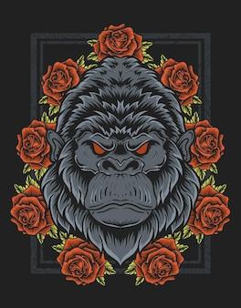 Illustratie vintage gorilla hoofd met roze bloem