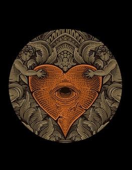 Illustratie vintage hart ogen met cirkel gravure stijl