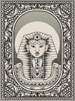 Illustratie vintage koning egypte zwart-wit stijl