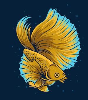 Illustratie vintage mooie betta vis