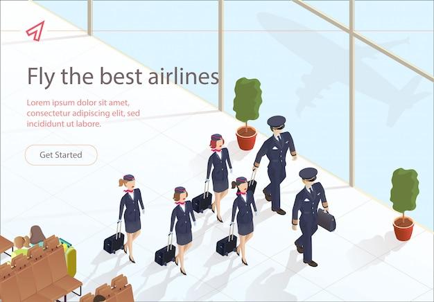 Illustratie vlieg beste luchtvaartmaatschappijen vliegtuigbemanning.