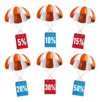 Illustratie vliegen rode en witte parachute met papieren zak verkoop kaart.