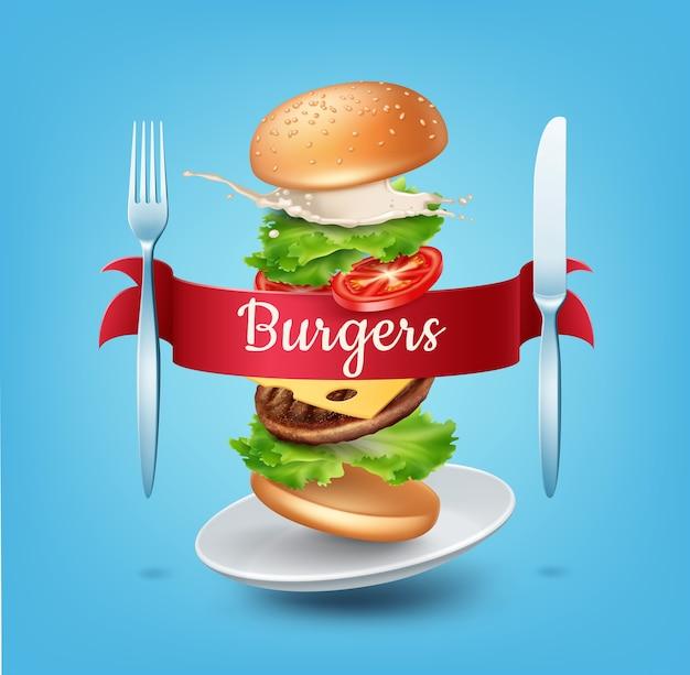 Illustratie vliegende hamburger op plaat met rood lint vork en mes advertenties geëxplodeerde hamburger