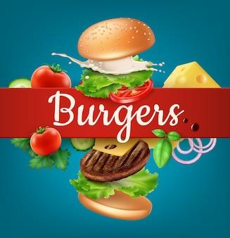 Illustratie vliegende hamburgeradvertenties ontplofte hamburger