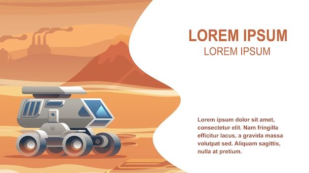 Illustratie voertuig zandoppervlak mars