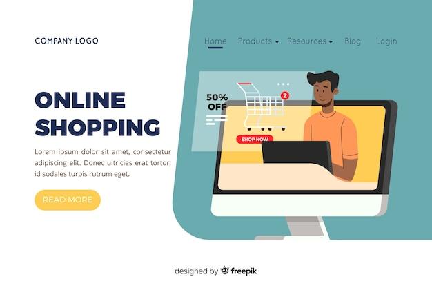 Illustratie voor bestemmingspagina met online shopping concept