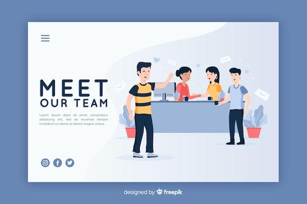 Illustratie voor bestemmingspagina met ontmoet ons teamconcept
