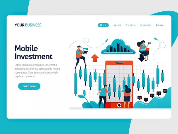 Illustratie voor bestemmingspagina van onderzoek en analyse van statistische gegevens om investeringen te kiezen. mobiel platform voor financiering en financiering. grafiek en diagram